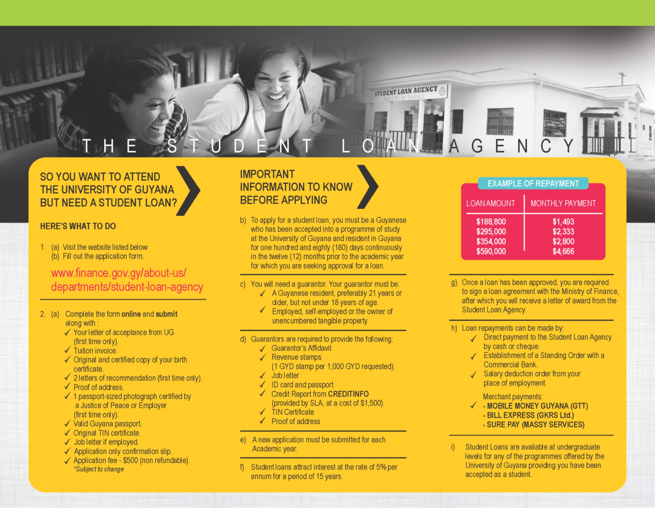 student loan brochure university of guyana